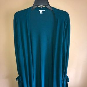 Halogen open-front teal cardigan